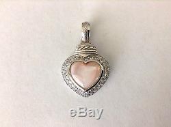 JUDITH RIPKA 18 Rose Quartz Bead Necklace with Heart Shaped Pendant Enhancer