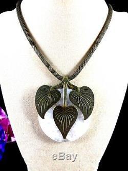 Jan Michaels Sf Brass Mesh Necklace Rose Quartz Morning Glory 3 Leaf Pendant