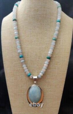 Jay King Aquamarine Pendant with Rose Quartz, Aquamarine & Turquoise 18 Necklace