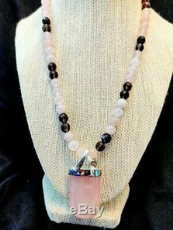 Jay King Rose Quartz Pendant with 18 Rose & Smoky Quartz Beaded Necklace NWT