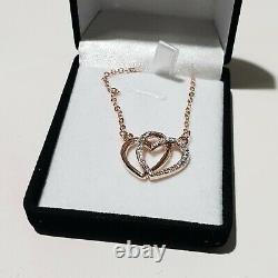 Joblot 50 Rose Gold Heart Cubic Zirconia Pendant Necklace + 50 Boxes Jewellery