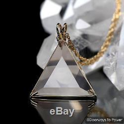 John of God Crystal Rose Quartz Star of David Vogel Crystal Triangle Pendant 14k
