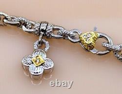 Judith Ripka Pink Quartz Pendant Link Chain Necklace in Sterling 925 &18K Sz16.5