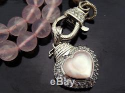 Judith Ripka Rose Quartz Heart Beaded Necklace in Sterling Silver, 18in