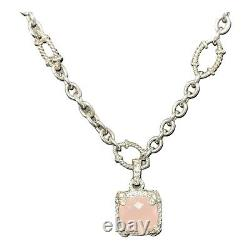 Judith Ripka Sterling Silver Necklace With Pink Quartz And Diamonique Pendant