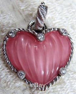 Judith Ripka Sterling Silver Rose Quartz Doublet Heart Enhancer NEW