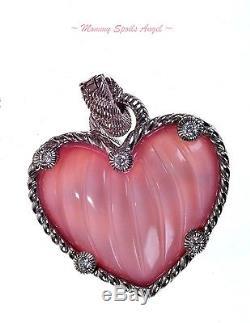 Judith Ripka Sterling Silver Rose Quartz Doublet Heart Enhancer NEW