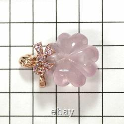 K18PG Rose Quartz Pink Sapphire Pendant Top PS0.33ct Perfume Bottle Auth SELBY
