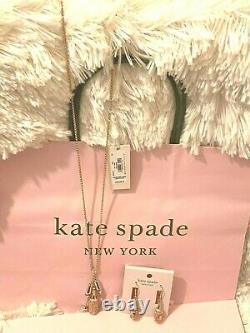 Kate Spade Pendant & Earring Make Magic Champagne Cluster Set Rose Metallic Bag