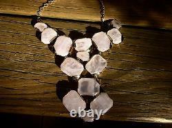 Kate spade new york stepping stones rose quartz pink necklace statement bib gems