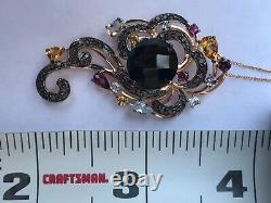 LE VIAN Chocolate Quartz & Mixed Gemstones 9.04 TCW Pendant in 14K Rose Gold NWT