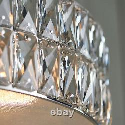 LED Ceiling Pendant Light 25W Warm White CHROME & CRYSTAL Feature Lamp Shade