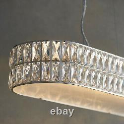 LED Ceiling Pendant Light 25W Warm White CHROME & CRYSTAL Wide Bar Table Lamp