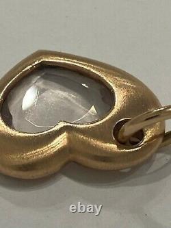 LESTER LAMPERT Heart CHARM PENDANT 14k Rose Gold and Clear Quartz