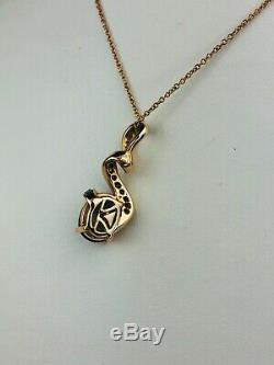 LEVIAN 14k Rose Gold Chocolate Quartz and. 25ctw Diamond Pendant Necklace