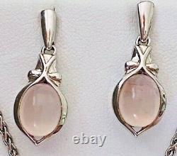 LORENZO JEWELRY Rose Quartz Sterling Silver Necklace Pendant Earrings Set CISG