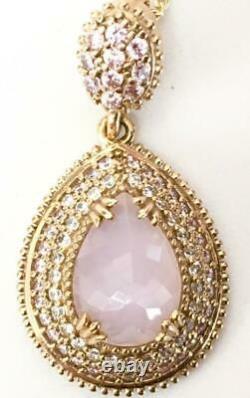 LRG 8 Carat Rose quartz & diamond pendant 925 14K gold yellow vermeil Love Pink
