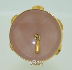 Large 18K Multi-stone Rose Quartz Bell Charm Pendant