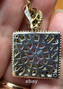 Large 8 ct Princess cut Rose quartz diamond pendant chain 925 14K yellow gold V