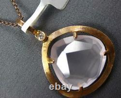 Large 9.74ct Diamond & Aaa Pink Quartz 14k Rose Gold Diamond By The Yard Pendant