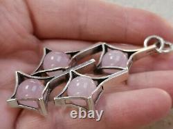 Large Kupitaan Kulta Silver & Rose Quartz Modernist Scandinavian Pendant