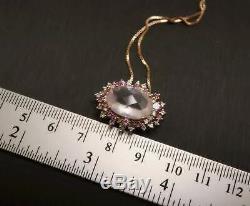 Large Natural Rose Quartz Necklace Rose Gold Coated 925 Sterling Silver Multi Ge
