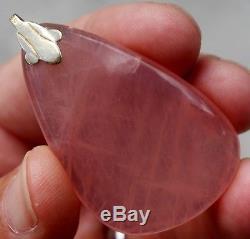 Large Rose Quartz Stone Drop 585 14k Gold Pendant Necklace