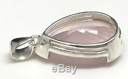 Large rose quartz faceted pear pendant solid Sterling Silver, New, 40 x 24mm