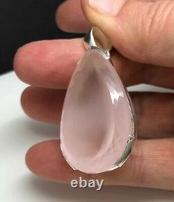 Large rose quartz pear pendant, solid Sterling silver, faceted, beautiful, new