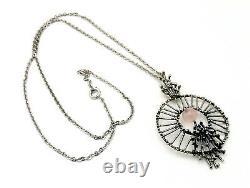 Large vintage silver necklace brutalist pendant with rose quartz stone 835 mark