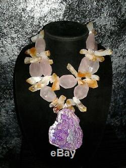 Lavender Aura Geode Statement Pendant Rose Quartz Citrine Point Necklace KATROX