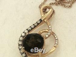 Le Vian 14k Strawberry Rose Gold Diamond Smoky Quartz 1.25 Pendant 18 Necklace