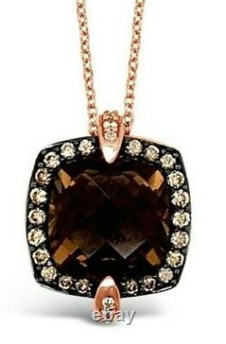 Le Vian Pendant Smoky Quartz, Sapphire, White/Chocolate Diamonds 14K Rose Gold