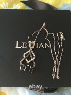 Le Vian Smoky Quartz and White Topaz Pendant Necklace 14ct Rose Gold New Genuine