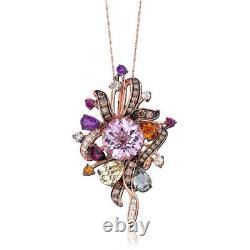 LeVian 14K Rose Gold Amethyst Lemon Quartz Round Brown Diamond Pendant Necklace