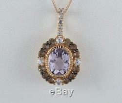 LeVian 14K Rose Gold Amethyst Smoky Quartz White Sapphire Necklace Pendant