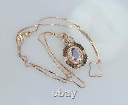 LeVian 14K Rose Gold Amethyst Smoky Quartz White Sapphire Necklace Pendant 18