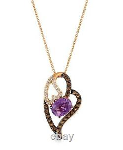 LeVian 14K Rose Gold Amethyst Topaz Smoky Quartz Love Heart Pendant Necklace