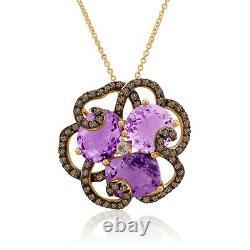 LeVian 14K Rose Gold Amethyst White Topaz Smoky Quartz Flower Pendant Necklace