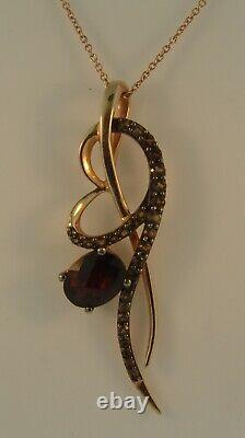 LeVian 14K Rose Gold Garnet Smokey Quartz Pendant Necklace-2.56ctw