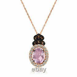 LeVian 14K Rose Gold Pink Amethyst Smoky Quartz White Topaz Pendant Necklace