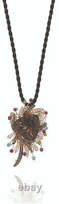 LeVian 14K Rose Gold Smoky Quartz Rhodolite Topaz Brown Diamond Pendant Necklace