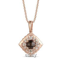 LeVian 14K Rose Gold Smoky Quartz Round Nude Diamond Pretty Pendant Necklace