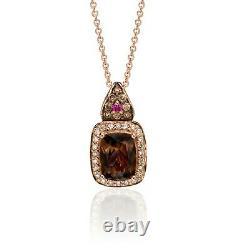 LeVian 14K Rose Gold Smoky Quartz Sapphire Round Brown Diamond Pendant Necklace