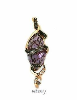 LeVian Amethyst Smoky Quartz White Sapphire 14k Rose Gold Pendant Rt. $1,700