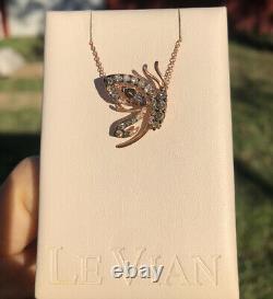 LeVian Chocolate Diamonds Smoky Quartz Pendant Necklace 0.93ct 14k Rose Gold NEW