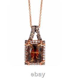 LeVian Chocolate Diamonds Smoky Quartz Pendant Necklace 3 cttw 14k Rose Gold NEW