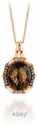 LeVian Chocolate Diamonds Smoky Quartz Pendant Necklace 7.25 cttw 14k Rose Gold