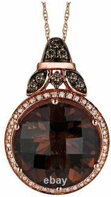 LeVian Chocolate Diamonds Smoky Quartz Pendant Necklace 8.31 cttw 14k Rose Gold