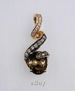 LeVian Chocolate Quartz and 1/4 Carat Diamond Pendant Slide Charm 14k Rose Gold